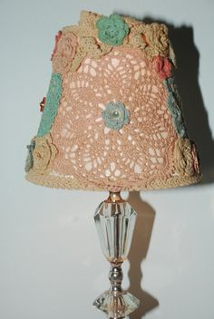 Shabby Chic Lamp Shade With Crochet Doilies and by Nogginsandnapes on Esty for $45 ..... well, I think I'll give it a shot!!!  and I bet I like mine better! lol