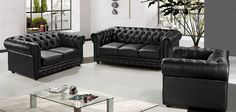 Divani Casa Paris 3 Modern Black Half Leather Sofa Set from Contemporary Furniture Warehouse. Saved to Living Room Chilling Room. Best Leather Sofa, Modern Leather Sofa, Leather Furniture, Black Leather, Sofa Furniture, Pallet Furniture, Modern Furniture, Diy Living Room Decor, Living Room Sets