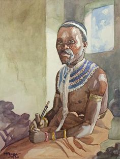 """Traditional Portraits by South African Artist George Pemba. Born Milwa Mnyaluza """"George"""" Pemba in Korsten, Port Elizabeth, in Pemba is most known for his paintings depicting scenes of township. Black Women Art, Black Art, South Africa Art, Xhosa, South African Artists, Art Of Man, Afro Art, African Masks, African History"""