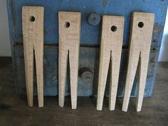 19th Century Primitive Lot of FOUR HAND MADE Wood Clothespins....shop2loveit.....Ebay