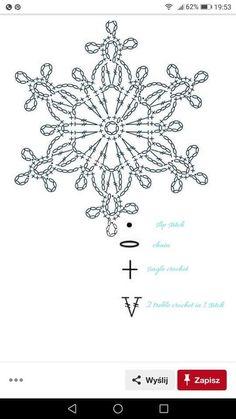 Crochet Chart, Thread Crochet, Crochet Motif, Crochet Dolls, Crochet Patterns, Crochet Snowflake Pattern, Crochet Snowflakes, Crochet Christmas Ornaments, Christmas Cross