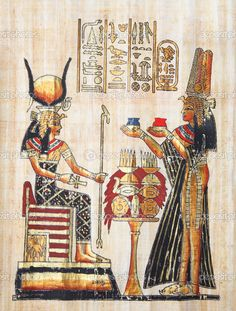 Ancient Egyptian Art | Papyrus with elements of egyptian ancient history. Copy from Egypt ...