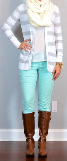 Outfit Posts: outfit post: mint jeans, white blouse, grey & white striped sweater, brown riding boots