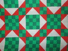 Christmas quilting sewing fabric red green patchwork block squares holiday quilt