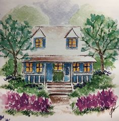 art impressions - watercolor - markers - catalog photo - cottage in the woods - M-2425, G-1277, AAA-1376, D-2052, AAA-1374, A-893