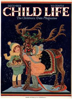 Dec 1925 Christmas Child Life Cover Only Reindeer & Kids..