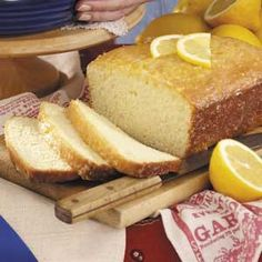 Golden Lemon Bread Recipe -This wonderful bread, made from my grandmother's recipe, won Best of Show at the New Mexico State Fair. —Marjorie Rose, Albequerque, New Mexico Quick Bread Recipes, Easy Bread, Pork Recipes, Fruit Bread, Dessert Bread, Gluton Free Bread, Lemon Recipes, Sweet Recipes, Chocolate Chip Banana Bread