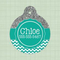 Custom Pet ID Tag circle, Glitter top, chevron bottom