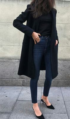 classic black turtleneck w/ dark wash jeans