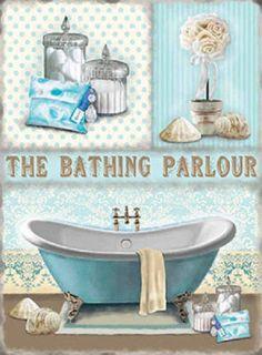 10383 Bathing Parlour Shabby 6 x 8 Chic Metal Steel Bathroom Sign Plaque Victorian Bathroom, Vintage Bathrooms, Chic Bathrooms, Coastal Bathrooms, Bathroom Prints, Door Plaques, Vintage Metal Signs, Metal Plaque, Retro Advertising