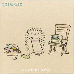 787 洗濯物 folding the laundry #illustration #hedgehog #イラスト #ハリネズミ #illustagram
