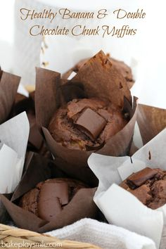Healthy Banana & Double Chocolate Chunk Muffins