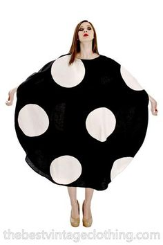 Vuokko Myllynkivi Vintage 1964 Circle Dress Black & White Polka Dot Iconic Free Size