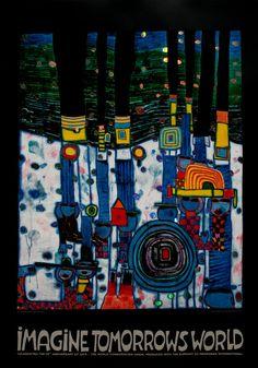 Friedensreich Hundertwasser : Imagine Tomorrows World (Blue)