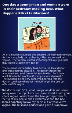 One Day a young man and woman were in their bedroom making love - Trending Jokes Husband Jokes, Wife Jokes, Wife Humor, Man Humor, Funny Wife Quotes, Funny Jokes, Funny Shit, Single Jokes, Daily Jokes