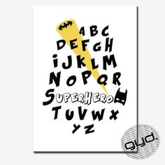 Alphabet print Superhero this monochrome by GalleryYdesigns