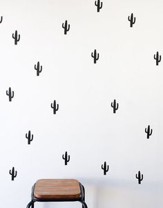 40 x Black Cactus Wall Decal Stickers Nursery Kid by HarlieandCo