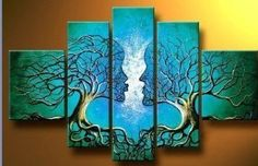 Santin Art - Wood Framed on the Back Wall Art Blue Tree Human Body ...