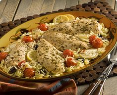 mediterranean recipes | PERDUE® : Mediterranean Chicken with Roasted Vegetable Orzo Recipe