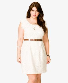 A floral lace sheath dress featuring a faux leather skinny belt.