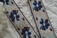 1y Vintage French Two Tone Blue Floral Gold by VintageCottageFinds