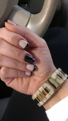 Classy nails Chic nails  Nude and black Fashion