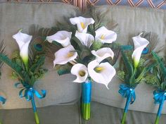 Calla Lilly & Peacock Feather Wedding Bouquets