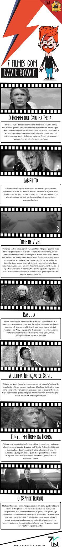 Hoje é dia de recordar, recordar um pouco da história de um dos maiores artistas que o mundo já viu. Confira 7 filmes com David Bowie. #SevenList #OIdiotacinefilo #Blog #Brasil #DavidBowie #Musica #Cinema #Film #Filmes #Cine #Recordar #Saudade #Art #Infografico #Homenagem #Movie #Music #Culture