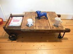 Industrial Coffee Table (sack truck, trolley, reclaimed, salvage)