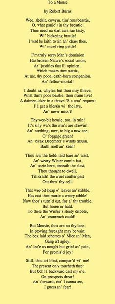 Robert Burns, Scottish Poems, Scottish Gaelic, Burns Supper, Scotland History, Pomes, Auld Lang Syne, Of Mice And Men, Down South