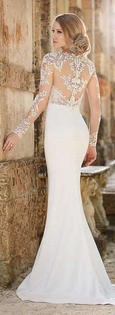 Sheer Back and Long Sleeve Antique Lace Top Wedding Dress with Covered Button Back.