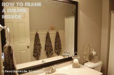 Easy way to frame a boring builder-grade bathroom mirror.  Inexpensive, too!