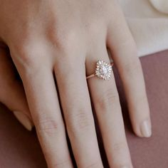 Art Deco Engagement Ring Gatsby Style Engagement Ring Rose Gold Engagement Ring Double Halo Oval Moissanite Ring The Daisy Ring Yellow Engagement Rings, Engagement Ring Settings, Vintage Engagement Rings, Engagement Ideas, Wedding Engagement, Daisy Ring, Wedding Rings Rose Gold, Diamond Wedding Bands, Bridal Rings