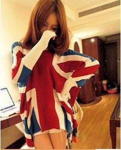 winter woolen loose bat sleeves england flag sweater.
