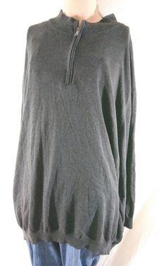 3395ac57 Harbor Bay Men's Size 5XLT Gray Long Sleeve Half Zip Knit Top Sweater  #HarborBay #HalfZip #bigandtall #plussizeman