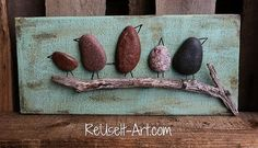 Rock Art Wood SignBirds in a Branch Rustic Pallet by ReUseItArt