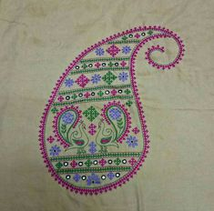 Embroidery Neck Designs, Hand Embroidery Videos, Hand Embroidery Tutorial, Hand Work Embroidery, Embroidery Motifs, Simple Embroidery, Indian Embroidery, Vintage Embroidery, Embroidery Ideas