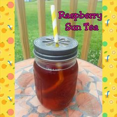 For the Love of Food: Summertime Iced Raspberry Sun Tea Non Alcoholic Drinks, Fun Drinks, Yummy Drinks, Beverages, Cocktails, Sun Tea Recipes, Holiday Recipes, Smoothie Recipes, Smoothies