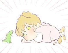 Happy together ...  Drawn by J0HANNDR0 ... Free! - Iwatobi Swim Club, free!, iwatobi, makoto tachibana, makoto, tachibana, dog, dinosaur stuffed toy