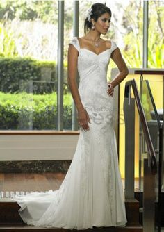 Lace and Organza Sweetheart Cap Sleeves Mermaid Wedding Dress. zi yalian · Abiti  da Sposa Economici c915e8e5df1