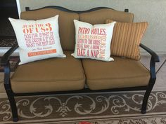 Our canvas pillows aren't just for inside the home! They are are a great addition to a screened in porch.