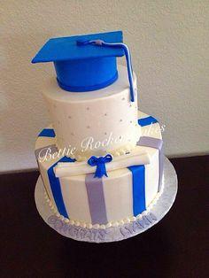 Blue Silver Girlie Graduation Cake
