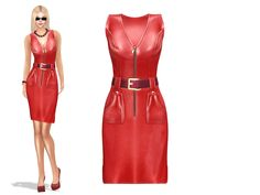https://flic.kr/p/GYVhpP | Ladies Weekens Sale 100L : Sleeveless Front Zip Red Leather Pockets Dress With Belt | marketplace.secondlife.com/p/WEEKENDSALE-Full-Perm-Fitmes...