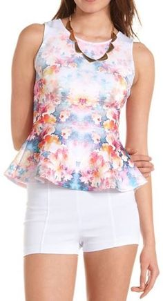 #floral peplum  Get 10% off your purchase at http://www.studentrate.com/itp/get-itp-student-deals/Charlotte-Russe-10percent-Student-Discount--/0