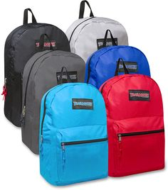 """NEW IMPROVED LONGER LASTING MATERIALS! Backpacks Measure 17"""" x 12"""" x 5.5"""" Backpacks Built From Durable High Quality Polyester Padded Adjustable Straps 4 Black, 4 Navy, 4 Gray, 4 Red, 4 Light Blue and 4 Green Double Zippers Brand Name You Can Trust"""