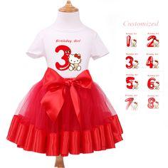 Baby Set Girl Clothes Short Sleeve T-Shirt + Red Tutu Dress Kids Cartoon  Party Clothing Baby Girl 1st Birthday