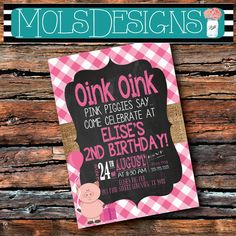 Any Color PINK PIG PIGGY Oink Oink Burlap by MolsDesigns on Etsy
