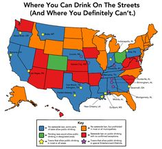 Where you can drink on the street The Huffington Post created this fairly thorough, although admittedly not absolutely complete, map of where one may enjoy the pleasures of imbibing alcoholic beverages in public. Blue states don\'t have any statewide ban on public drinking, and green states have pending legislation that would allow it. Local laws may vary, though. Towns marked with yellow stars let people drink in most public places. Ones with purple stars allow drinking only in certain areas.