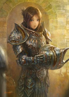 1girl armor black_hair blue_eyes breastplate fantasy gauntlets headwear_removed helmet helmet_removed highres k-takano looking_at_viewer original pauldrons signature solo