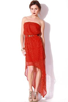 1015store.com-strapless chiffon overlay high low belted cocktail dress - red metallic-$15.00